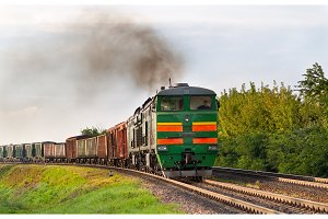 Freight train hauled by diesel locomotive. Belarusian railway