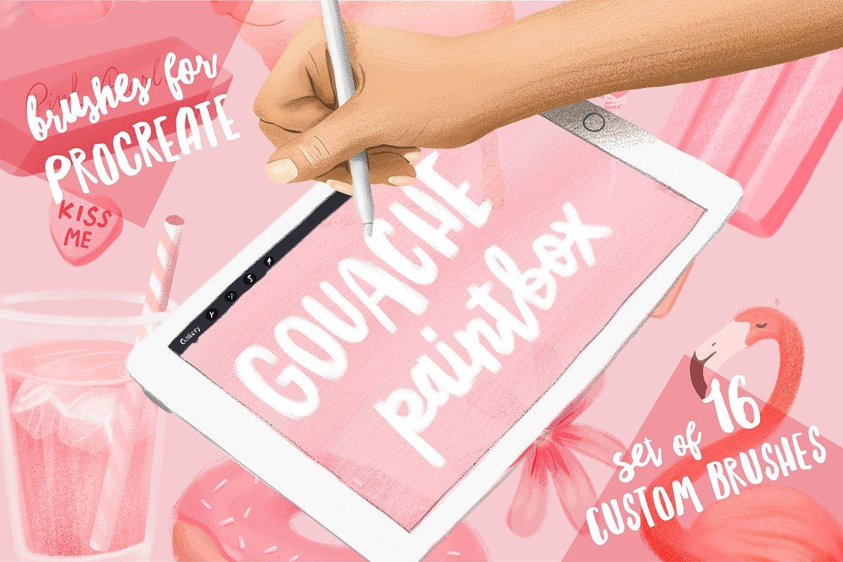 Gouache Paintbox for Procreate ~ Procreate Brushes