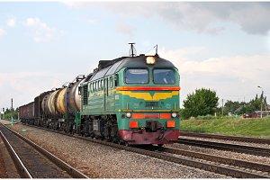 Russian freight diesel train