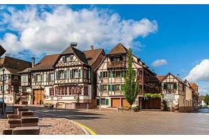 Alsatian style houses in Kintzheim, Alsace, France