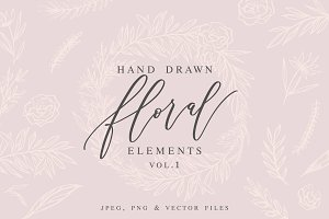 Hand Drawn Floral Elements Vol.1