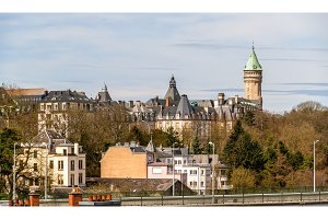 View of Luxembourg city historic center