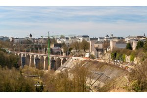 View of railway viaducts in Luxembourg city
