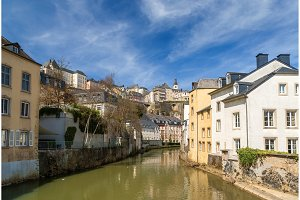 Luxembourg old city: Grund quarter and Alzette river