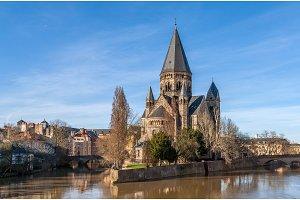 Temple Neuf de Metz on Moselle river - Lorraine, France