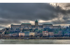 View of Buda Castle (Royal Palace) from Danube river - Budapest,