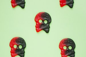 Skull shaped red & black candies