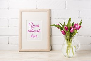 Wooden frame mockup with magenta pin