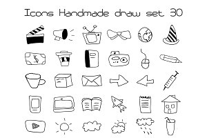Icons Set Vector Handmade Draw