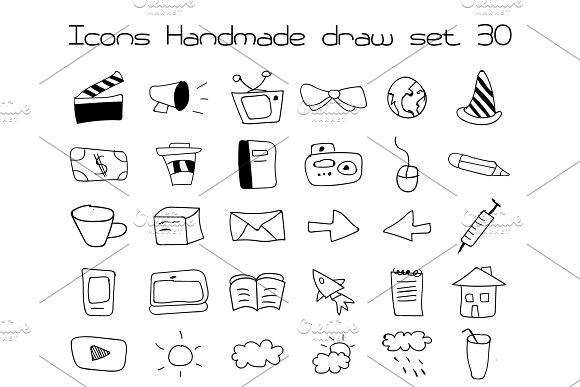Icons Set Vector Handmade Draw