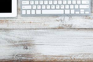 Office Desktop upper border on wood