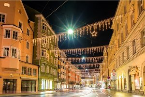 A street in the center of Innsbruck on Christmas