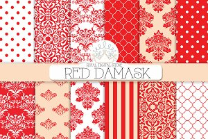 RED DAMASK digital paper