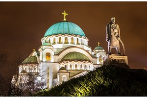 Karadjordje Monument and the Church of Saint Sava in Belgrade, S