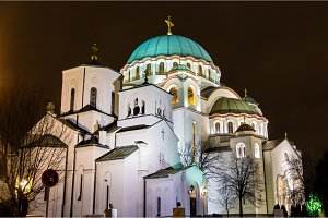 The Little and the main churches of Saint Sava Cathedral in Belg