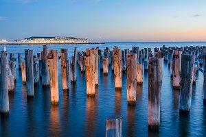 Old wooden pylons of historic Princes Pier in Port Melbourne