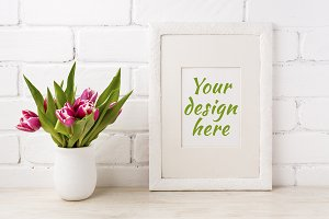 White frame mockup with magenta pink