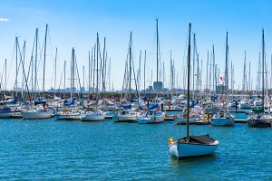 Yachts and boats on moorage