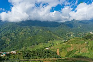 Aerial landscape of countryside mountain villages