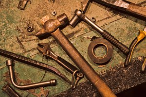 Still life of old hand tools