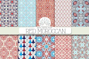 RED MOROCCAN digital paper