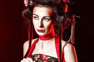 Geisha with hair and makeup