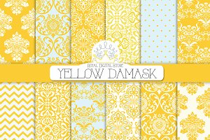 YELLOW DAMASK digital paper