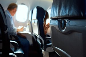 passanger in aircraft cabin