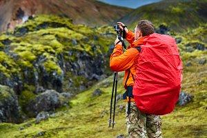 man hiker photographer