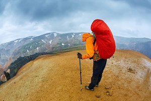 hiker in the mountains, Iceland