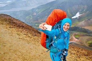 woman hiker photographer