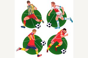 Set of stickers with soccer players