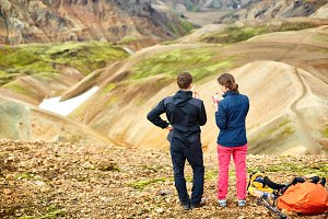 couple hikers in the mountains, Iceland