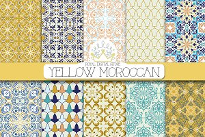 YELLOW MOROCCAN digital paper
