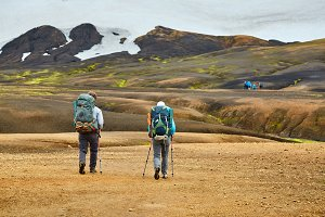 hikers in the mountains, Iceland