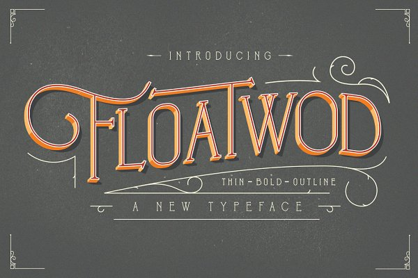 Display Fonts: bloomxxvi - Floatwod Typeface THIN-BOLD-OUTLINE