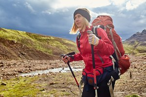 woman hiker in Iceland