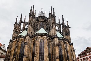 Outdoor view of St. Vitus Cathedral in Prague