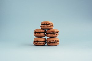 Macaroons isolated on blue background