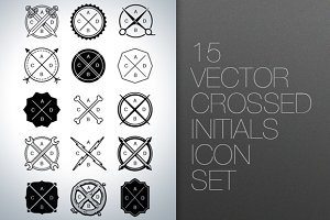 Vector Crossed Initials Icon Set