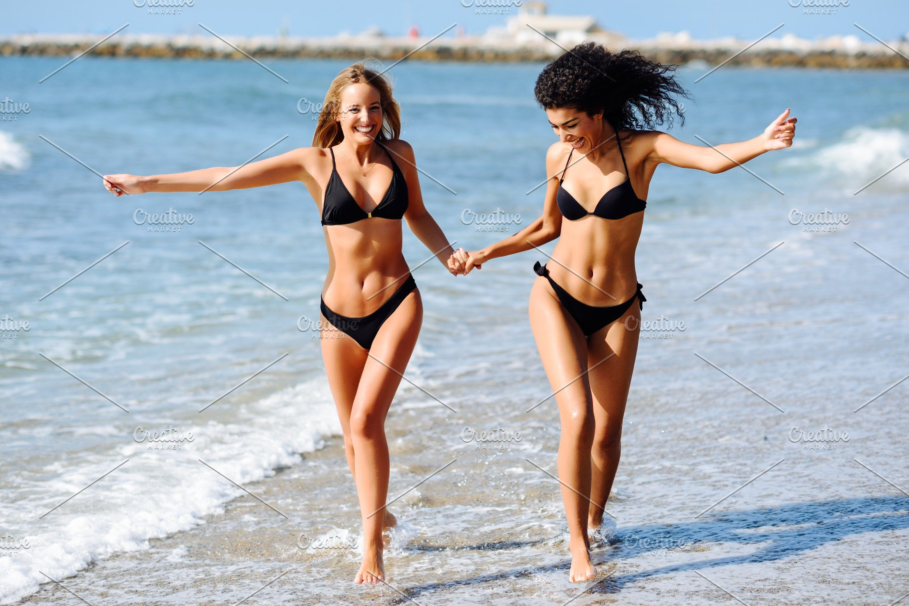 afb5c5977ad67 Two happy women on tropical beach ~ People Photos ~ Creative Market