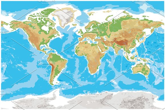 Physical map of Earth detailed topographic world in Illustrations