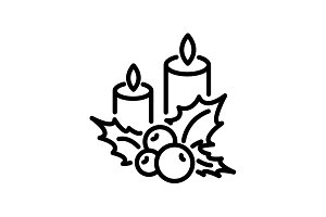 icon. Christmas candle and holly ber