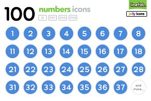 100 Numbers Icons - Jolly - Blue