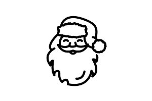 Web line icon. Santa Claus black