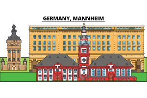 Germany, Mannheim. City skyline, architecture, buildings, streets, silhouette, landscape, panorama, landmarks. Editable strokes. Flat design line vector illustration concept. Isolated icons