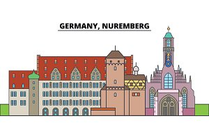 Germany, Nuremberg. City skyline, architecture, buildings, streets, silhouette, landscape, panorama, landmarks. Editable strokes. Flat design line vector illustration concept. Isolated icons