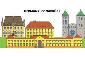 Germany, Osnabruck. City skyline, architecture, buildings, streets, silhouette, landscape, panorama, landmarks. Editable strokes. Flat design line vector illustration concept. Isolated icons