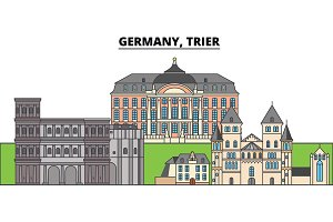Germany, Trier. City skyline, architecture, buildings, streets, silhouette, landscape, panorama, landmarks. Editable strokes. Flat design line vector illustration concept. Isolated icons