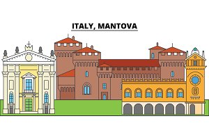 Italy, Mantova. City skyline, architecture, buildings, streets, silhouette, landscape, panorama, landmarks. Editable strokes. Flat design line vector illustration concept. Isolated icons